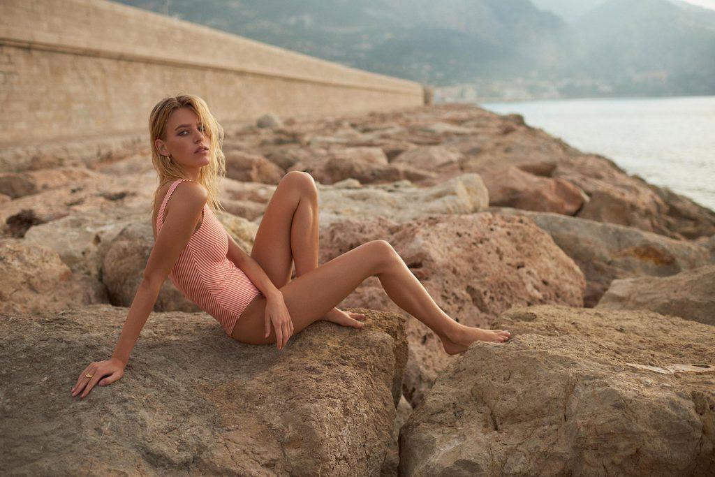 Model Line Kjaergaard in lingeri campaign for brand Underprotection by danish fashion photographer Henrik Adamsen