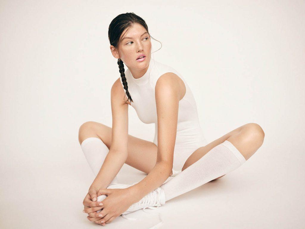 Caroline Tassing in studio fashion portrait photographed by fashion photographer Henrik Adamsen.