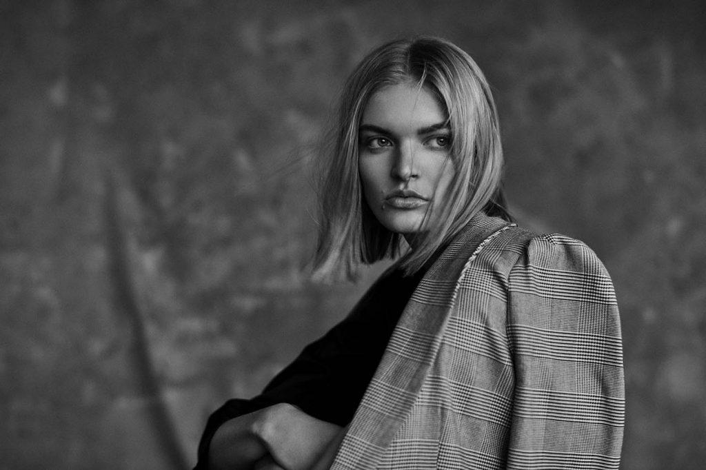 Model Juliane Grüner in black and white fashion editorial by danish fashion photographer Henrik Adamsen